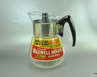 Corning Heat Proof Glass Coffee Carafe Promotional Maxwell House Vintage Advertising