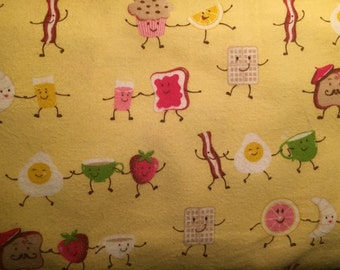 FLANNEL - Yellow Breakfast Fabric - Bacon Fabric - Eggs and Toast Fabric - Croissant Fabric - Waffle Fabric - Muffin Fabric