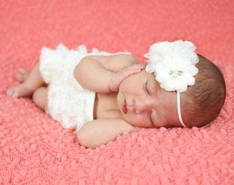 Ivory Flower Headband, Baby Headband, Baptism Headband, Baby Blessing Headband, Christening Headband, Photography Prop