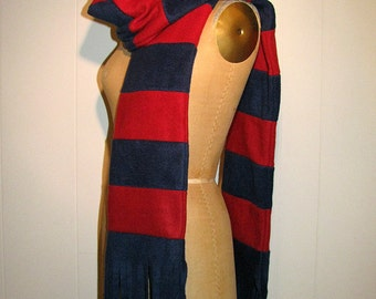 Navy Blue, Red Winter Scarf - Extra Long Fleece Scarf - Navy and Red Striped Team Fleece Fringed Scarf - Accessories - Scarf for Him or Her