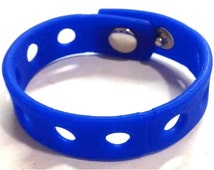 """Charm Holder Snap Bracelet Dark Blue Rubber Wristband Fits All Shoe Charms 7"""" or 8"""" Gift for Adults or Kids"""