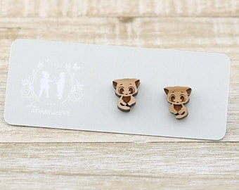 Wood Cute Kitten - Laser Cut Stud Earrings - Cat Jewelry - Pet earrings - gift for her - crazy cat lady