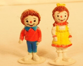 "Vintage--1980s--Raggedy Ann and Andy-Cake Toppers-2 3/4"" tall-Rubber"
