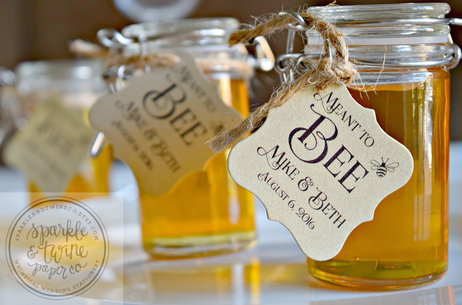 Wedding Favor Honey Tags : Meant to Bee Tags Honey Favor Tags Bride to by SparkleandTwineCo