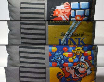 80's Retro Video Gaming Cartridge Pillow - Game Label - Made to Order