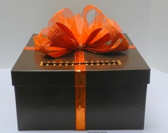 Fall Wedding Card Box Brown & Orange