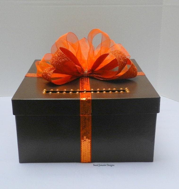 Fall Wedding Card Holder Ideas: Fall Wedding Card Box Brown & Orange