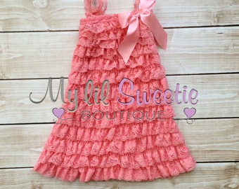 New Coral  Vintage Lace Petti Dress-Infant outfit- Toddler outfit- birthday outfit - Newborn outfit- photo prop
