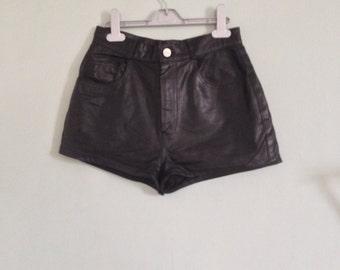 1990's Vintage Black High Waist Faux Leather Shorts XS