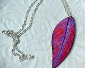 Leaf Necklace - Air Dry Clay - Purple Poppy Red - Woodland - Nature  - Gardener Gift - Real Leaf Imprint -Modern - Minimalist