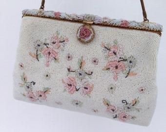 Vintage Ivory Pearl Floral Micro Beaded Beaded Bag, FRANCE 1950's, Bridal Purse, Vintage Beaded Evening Bag