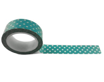 """Classic Teal and White Polka Dot Washi Tape 15mm (0.59"""") wide x 10 yards long Craft Masking Japanese Paper Tape FREE SHIPPING"""