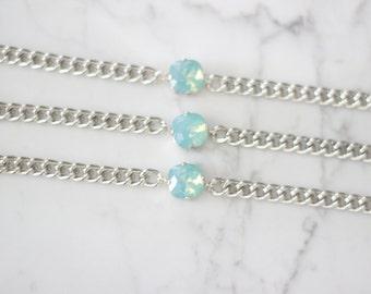 SALE! Pacific Opal Crystal Swarovski Chain Bracelet. Swarovski Bracelet. ON SALE!