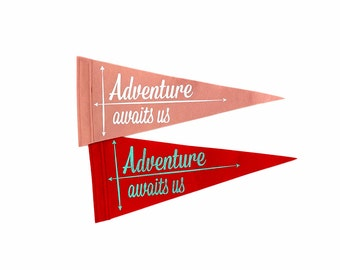 Adventure awaits us - Single Flag for Save the Date, Ringer Bearer, Ceremony Attendant, Photo Booth prop