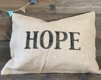 Burlap Pillow Cover - Hope