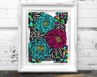 Geometric Peony Floral Print