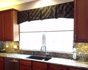 "Window Valance EMMA Hidden Rod Pocket Valance fits 44""- 60"" window, custom valance, made with your fabric, price includes LABOR and lining"