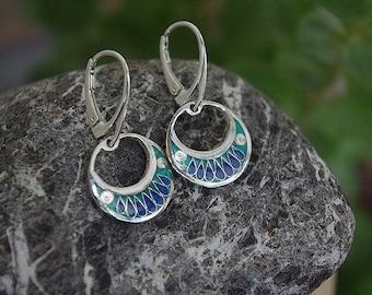 Silver earrings with cloisonne enamel