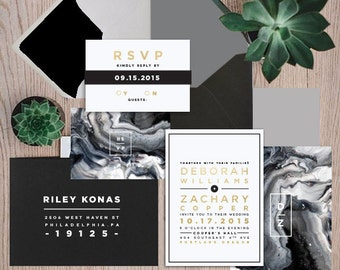 FOIL + Marble Invitations