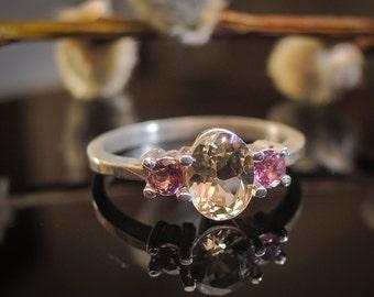 Natural Heliodor Ring Gold Heliodor Ring Golden Beryl Ring Heliodor Jewelry Beryl Jewelry Beryl Gemstone Ring Yellow Beryl Tri Stone Ring