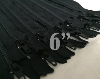 "10 black zippers wholesale zippers nylon zippers 6 inch zippers ykk zippers 6"" zippers 6 inch ykk zippers bulk zippers"