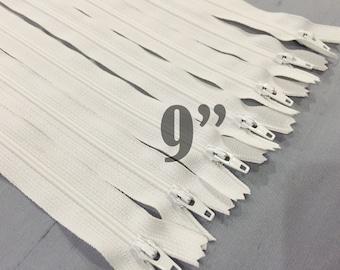 """white zippers 9 inch zippers bulk zippers nylon zippers 9"""" zippers ykk zippers 9 inch zips wholesale zippers sampler pack zipper - 10 pieces"""