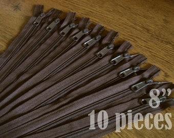 "wholesale zippers, handbag zippers, purse zippers, brown zippers, 8"" zippers, ykk zippers, 8 inch zips, bulk zippers - no. 4.5 10 zippers"