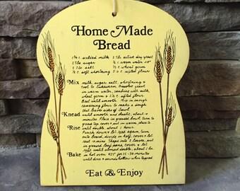 Bread Sign - Home Made Bread Sign - Bread Recipe - Bread Board - Vintage Farmhouse Kitchen - Country Kitchen - Kitchen Decor