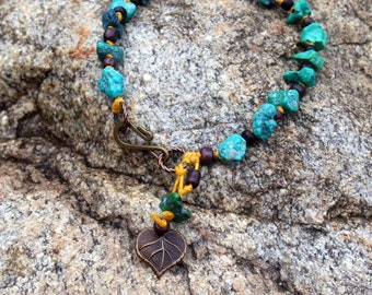 Genuine Turquoise stone knotted bracelet