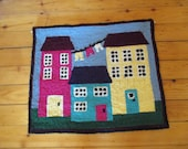 Rug Hooked Wall Hanging 'Out to Dry'