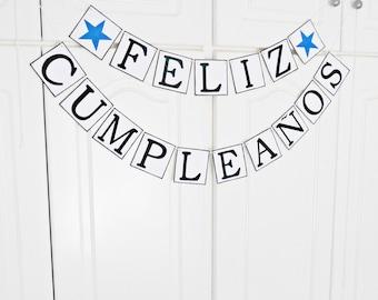 FREE SHIPPING, Feliz Cumpleaños banner, Spanish birthday decorations, Happy birthday sign, Cumpleaños fiesta garland, Party decor, Navy blue