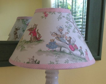 Over the Moon Toile Baby Nursery Lampshade / Available in Pastel and Yellow -- Custom Made