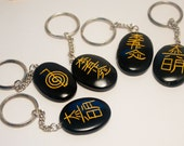 Huge Sale! Reiki Symbols Black Onyx Crystal Healing Keychain with Reiki Symbols etched in Gold wholesale Mix