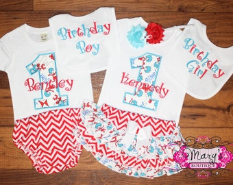 Twin Thing One and Two Birthday Ruffled Bloomers Outfit