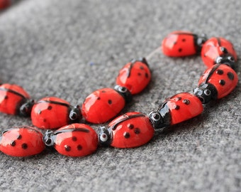 5 Ladybug beads - Glass Ladybug Beads - Lampwork Ladybug Beads - Ladybug - Red Ladybug - Lampwork Glass Beads - Insect Beads