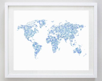 World Map Blue Watercolor Art Print