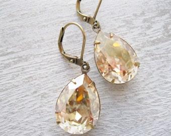 Champagne Teardrop Earrings Bridesmaid Jewelry Old Hollywood Glam Estate Style Wedding Gold Rhinestone Fall Bridal Jewelry