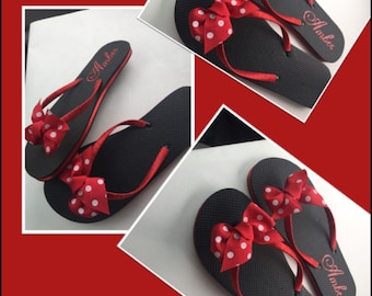 Personalized minnie mouse inspired flip flops