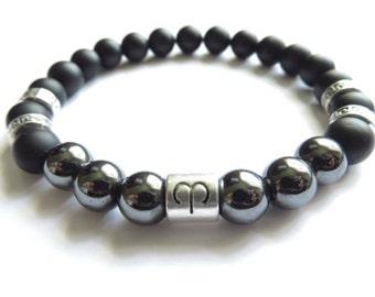 Men's Zodiac Mala Bracelet,Onyx&Hematite Mala,Energy Yoga Jewelry,Yoga Bracelet,Men's Jewelry,Prayer Beads,Buddhist,Zodiac Jewelry,For Him