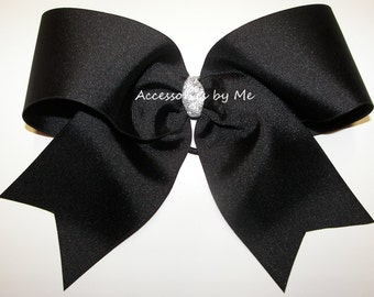 Bulk Price Big Cheer Bow, Solid Black 7 Inch Cheerbow, Football Cheerleader Spirit Cheerbows, Softball Hair Bows, Volleyball Team Bundle
