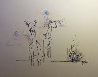 """8.5x11in """"ARE WE GOATS?"""" original Lyn Sweet Print"""