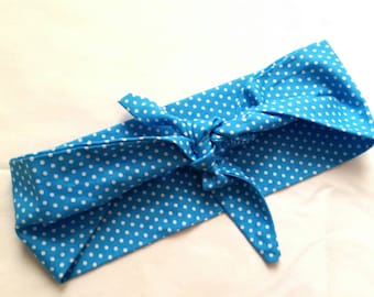 Rockabilly blue polka dot bandana