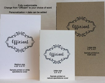 Officiant Journal * Officiant's Booklet *  Minister's Booklet * Personalize/Customize