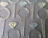 24 DIAMOND RING cupcake rings picks cake topper for an engagement wedding bachelorette or briday shower party, goodie bags favors