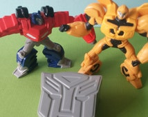 TRANSFORMERS cake topper Bumblebee and Optimus Prime plus logo box birthday rings cupcakes retro Discovery kids boy 80's favors party goodie