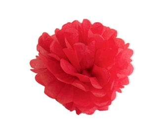 12 Inch Red Tissue Pom Poms - Paper Party Decor Decoration Supplies