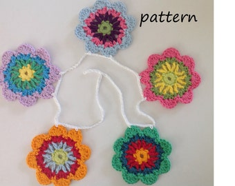 Flower Garland Crochet Pattern, Flower Bunting Pattern, PDF download