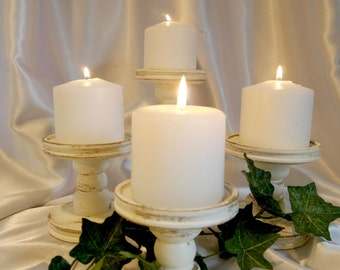 """Antique Gold Accented 4"""" Pillar Candle Holders, Set of 4"""