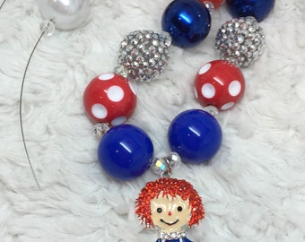 Raggedy Ann Doll Chunky Necklace: red, royal blue, white, silver, and black.
