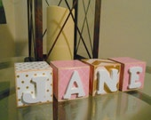 Pink and Gold Girl Personalized 2 Inch Name Wooden Belly Letter Blocks Baby Nursery Decor Newborn-Maternity Photo Shoot Prop- Pregnancy Gift